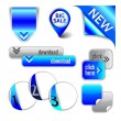 Vector blue elements - ribbon, pointer, corner, arrow, button, option — Stock Vector