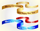 Vector christmas ribbons / gold, red, blue — Stock vektor