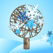 vector winter tree with snowfkakes on the blue background — Stock Vector