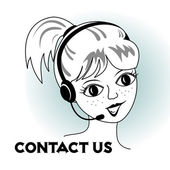 Contact us - cartoon girl with headset — Stock Vector