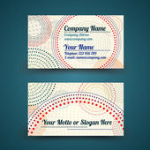 Vector vintage business card with dotted circles - front and back site — Stock Vector