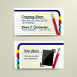 Vector business card with pencil and notebook - front and back site — Stock Vector #19105543