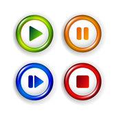 Vector shiny elements - play, pause, stop, forward — Stock Vector