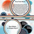 Vector colorful brochure with orange, blue, dark blue, white rainbow and place for text and photo — Stock Vector