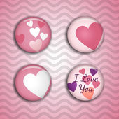 Vector love pins on the pink background with waves — Stock Vector