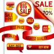 Vector red and yellow discount elements - ribbon, pin, stamp, arrow, button — Stock Vector
