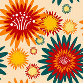 Floral seamless pattern - vintage design, green and orange colors — Stock Vector