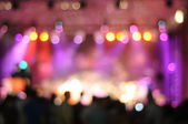 Out-of-focus shimmering background of a concert hall stage set — Foto Stock