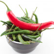 Red and green chilies — Stock Photo
