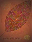 Autumn Collection advertising Poster with a mosaic leaf. — Vettoriale Stock