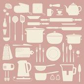 厨房的剪影集. — 图库矢量图片