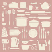 Kitchen silhouette set. — Stock Vector