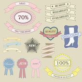 Labels and ribbon retro style set. — Stock Vector