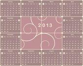 American calendar for 2013 year. — Stock Vector