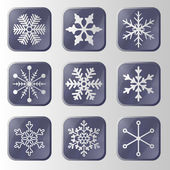 Set of snowflakes buttons. — Stock Vector
