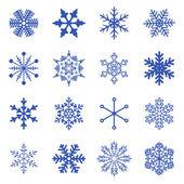 Vektorový soubor jednoduchých sněhových vloček. — Stock vektor
