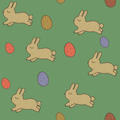 Seamless patterns with Easter bunnies and eggs. — Stock Vector