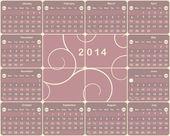 Calendario americano vettoriale per l'anno 2014. — Vettoriale Stock