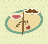 口ひげと唇とバレンタイン カード. — ストックベクタ