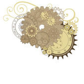 Collage with different gears, dials and swirls. — Stock Vector