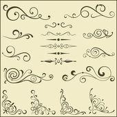 Set of vector swirl elements for design. — Stock Vector