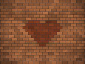 Brown brick wall with red heart. — Stock Vector