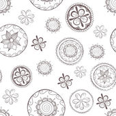 Seamless pattern with flowers in circles. — Stock Vector