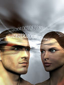 Binary man and woman — Stock Photo