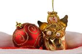 Christmas ball and angel doll — Stock Photo