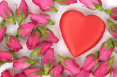 Big heart shape and pink roses — Stok fotoğraf