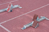 Two starting block in track — Stock Photo