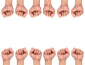 Compilation of strength hand signs — Stock Photo