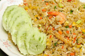 Crab meat and shrimp fried rice — Stock Photo