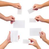 Verzameling blanco kaarten in een hand — Stockfoto