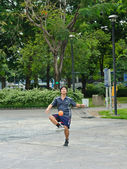 Man playing Sepak takraw — Stock Photo
