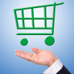 Conceptual image, green shopping cart on hand. — Stock Photo #17651619