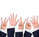 Collection of counting hand signs — Stock Photo