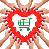 """Conceptual image, love """"green shopping"""". — Stock Photo"""