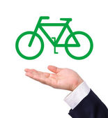 Conceptual image, help the environment with bike riding — Stock Photo