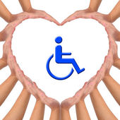 Conceptual image, Love handicapped person. — Stock Photo