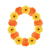 Number 0 created by flowers — Stock Photo