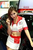 Female presenter of Toyota — Stock Photo