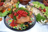 Ukrainian kitchen table eating treats — Stock Photo