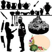 Chefs kitchen utensil and cake — Stock Vector