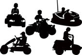 Boy driving children car — Stock Vector
