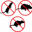 No rats. forbidden sign — Stockvectorbeeld