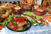 Ukrainian kitchen table with delicious dishes — Stock Photo