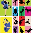 Stock Vector: Breakdance dancers
