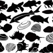 Fish  and snails set — Stock Vector