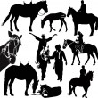 Stock Vector: Horses animals equestrisport